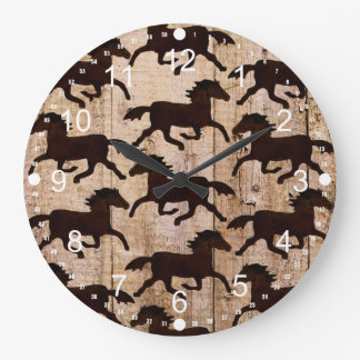 Country Western Horses on Barn Wood Cowboy Gifts Large Clock
