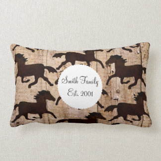 Country Western Horses on Barn Wood Cowboy Gifts Pillow