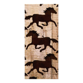 Country Western Horses on Barn Wood Cowboy Gifts Personalized Rack Card