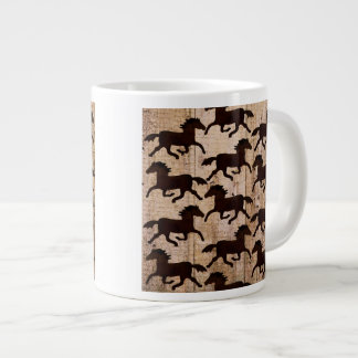 Country Western Horses on Barn Wood Cowboy Gifts 20 Oz Large Ceramic Coffee Mug
