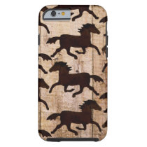 Country Western Horses on Barn Wood Cowboy Gifts Tough iPhone 6 Case