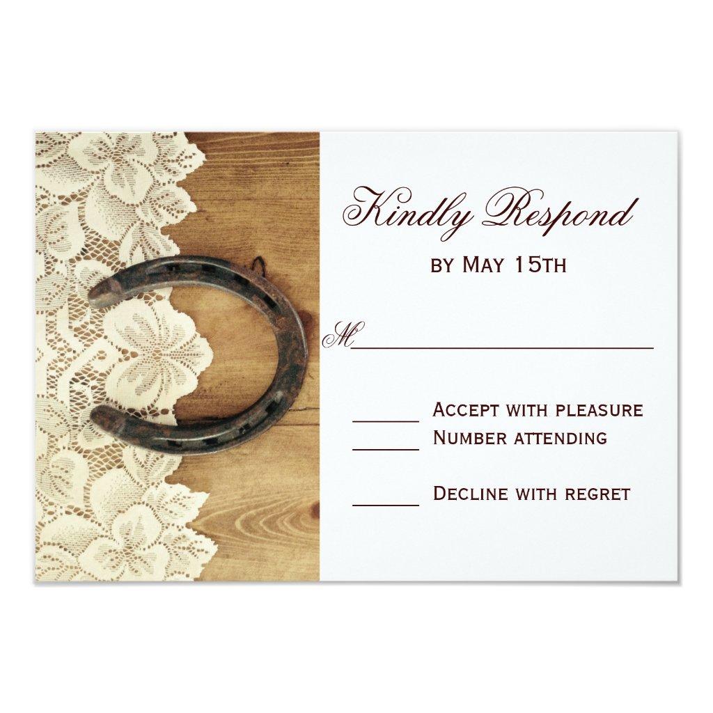 Country Western Horseshoe Lace Wedding RSVP Card