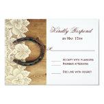 Country Western Horseshoe Lace Wedding RSVP Card Custom Invites