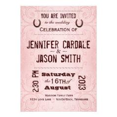 Country Western Horseshoe Pink Wedding Invitations