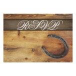 Country Western Horseshoe Rustic Wedding RSVP Card