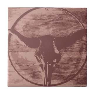 Country Western Longhorns Bull Skull Cowboy Gifts Ceramic Tile