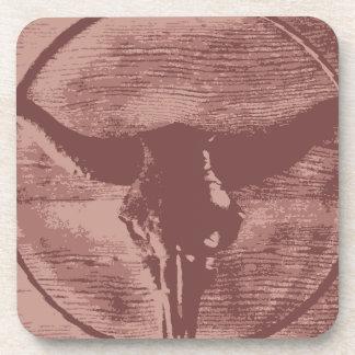 Country Western Longhorns Bull Skull Cowboy Gifts Drink Coaster