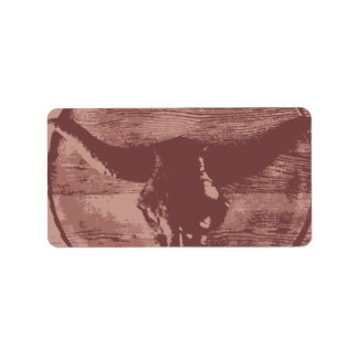 Country Western Longhorns Bull Skull Cowboy Gifts Label
