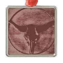 Country Western Longhorns Bull Skull Cowboy Gifts Metal Ornament