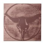 Country Western Longhorns Bull Skull Cowboy Gifts Tile