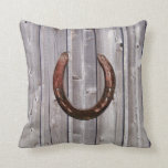 Country Western Lucky Horseshoe Rustic Wood Pillow