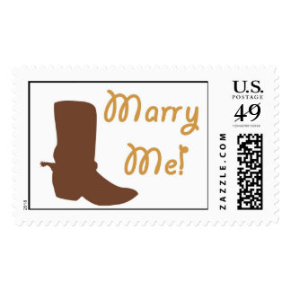 Country-Western Marry Me! Wedding Postage Stamp