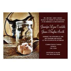 Country Western Mason Jar Wedding Invitations Personalized Invitation