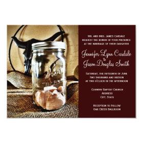 Country Western Mason Jar Wedding Invitations 4.5