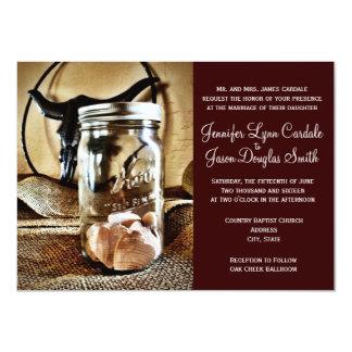 """Country Western Mason Jar Wedding Invitations 4.5"""" X 6.25"""" Invitation Card"""