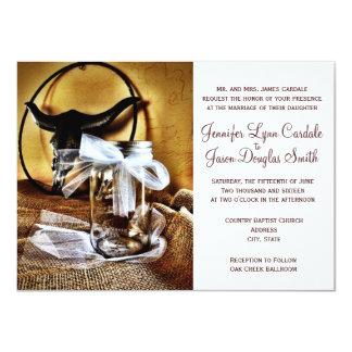 Country Western Mason Jar Wedding Invitations