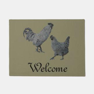 Country-western neon chickens doormat
