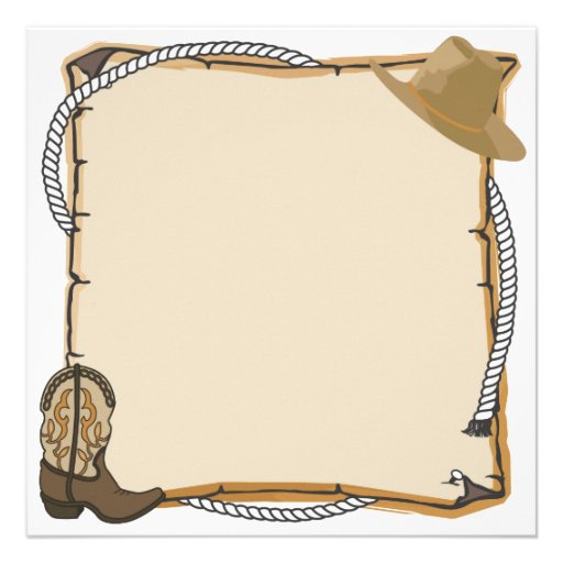 """Country Western Party Invite (blank) 5.25"""" Square ..."""