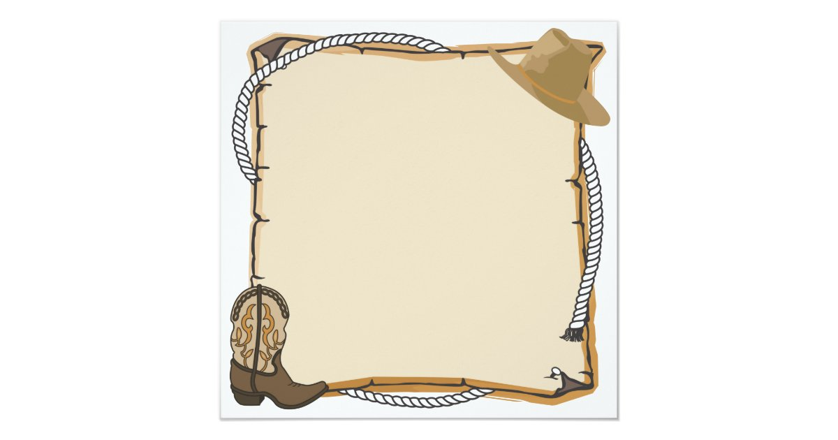 Country Western Party Invite blank Zazzle