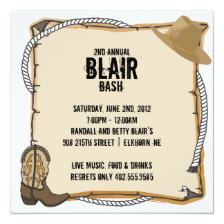 "Country Western Party Invite 5.25"" Square Invitation Card"