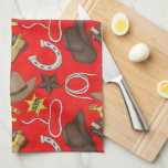 """Country Western pattern Kitchen towel<br><div class=""""desc"""">design by www.scrappindoodles.com</div>"""