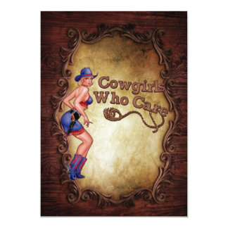 Country Western Pin Up Girl Cowboy bridal shower Card