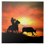 """Country Western Roping Cowboy Art Tile<br><div class=""""desc"""">A cowboy roping the run away steer in the sunset,  this is a fantastic art tile with vibriant colors!  A great accent piece or decor for any south western,  or country,  ranch theme decor.</div>"""