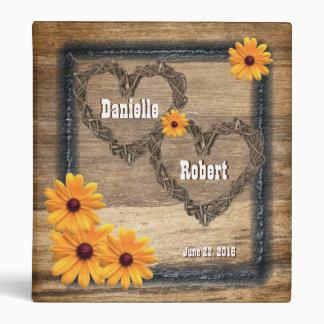 Country Western Rustic Hearts Wedding Album 3 Ring Binder