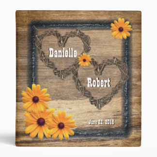 Country Western Rustic Hearts Wedding Album 3 Ring Binder