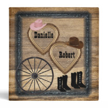 Country Western Rustic Wagon Wheel Wedding Album 3 Ring Binder