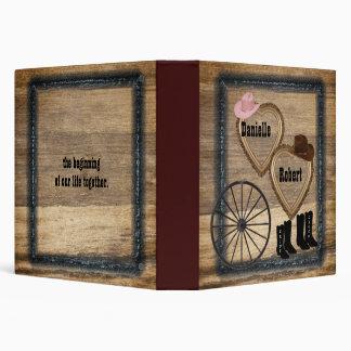 Country Western Rustic Wagon Wheel Wedding Album 3 Ring Binder