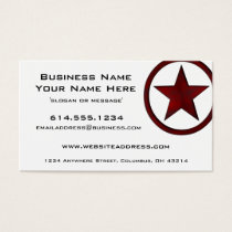 Country Western Star/Badge Red 2 Business Card