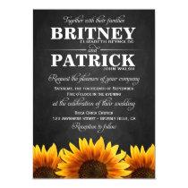 Country Western Sunflower Wedding Invitations
