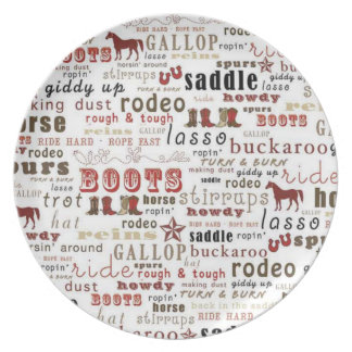 Country Western Theme Boots Rodeo Horse Plate