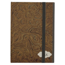 Country Western Tooled Leather Look Personalized Cover For iPad Air