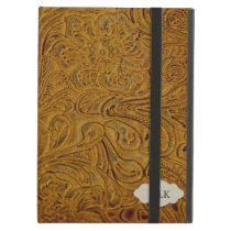 Country Western Tooled Leather Look Personalized iPad Air Case