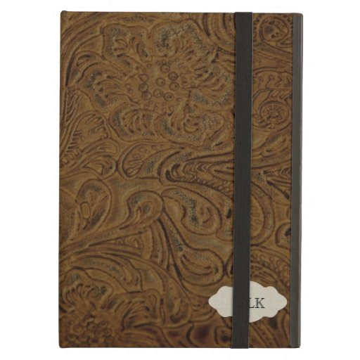 Country Western Tooled Leather Look Personalized iPad Folio Cases