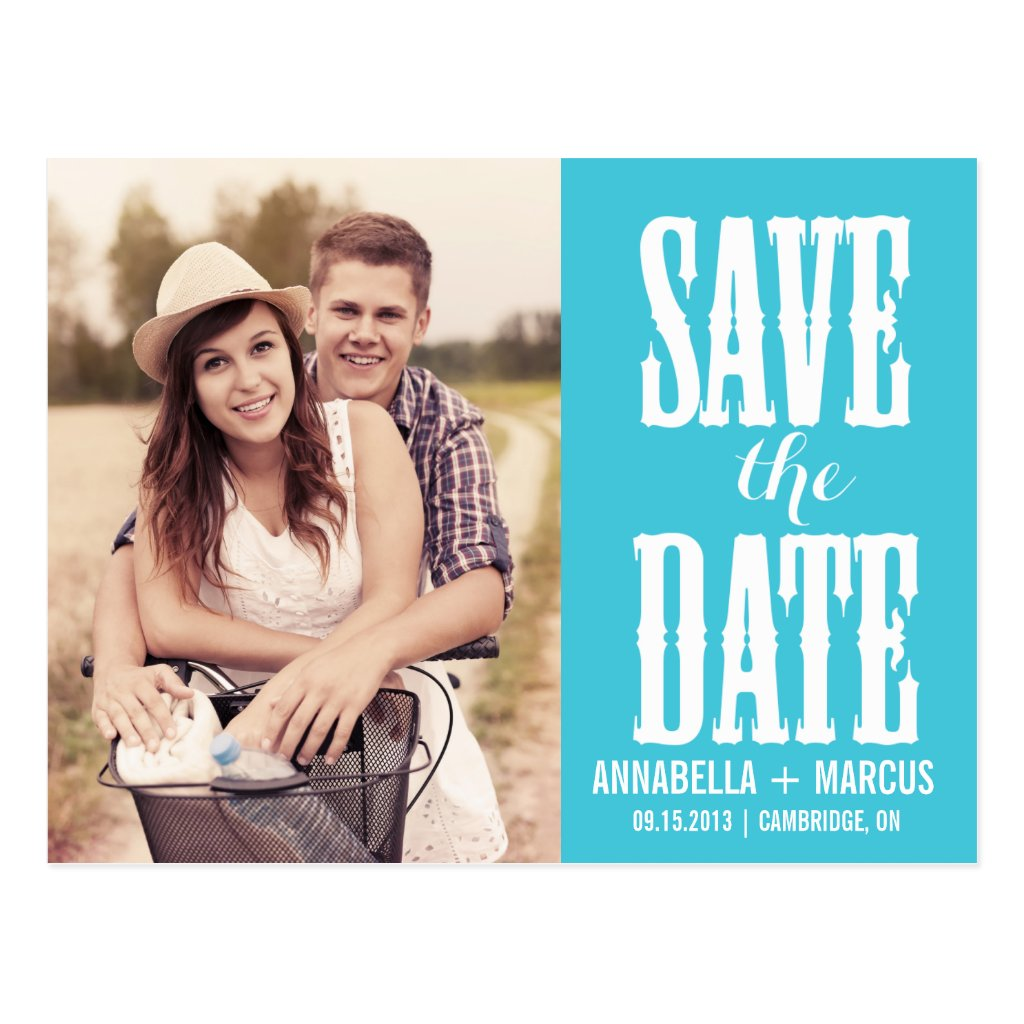 Country Western Turquoise Save the Date Postcard 8 postcards.