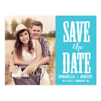 Country Western Turquoise Save the Date Postcard