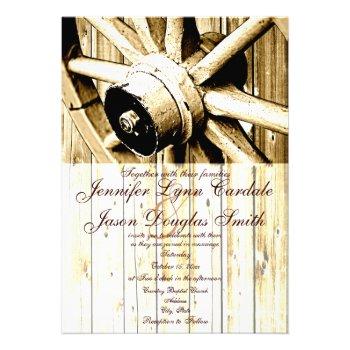 Country Western Wagon Wheel Wedding Invitations