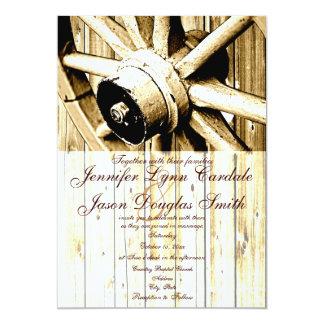 "Country Western Wagon Wheel Wedding Invitations 5"" X 7"" Invitation Card"