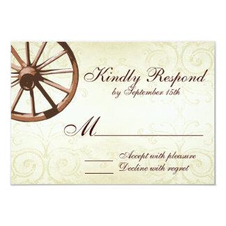 Country Western Wagon Wheel Wedding RSVP Card