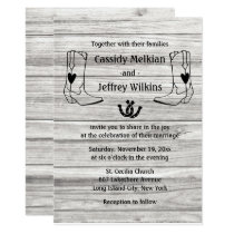Country Western Wedding Cowboy Boots Rustic Wood Invitation