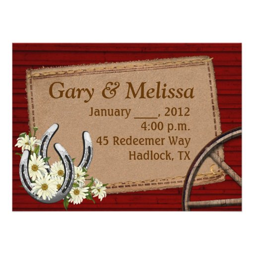 Country Western Wedding Invitation Template 55quot X