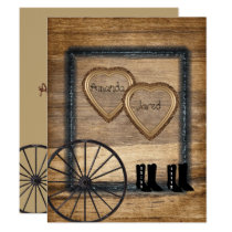 Country Western Wedding Invitation, Wagon Wheel Invitation