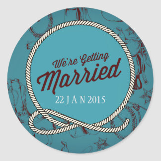 Country Western Wedding themed Classic Round Sticker