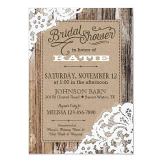 Country Western Wood Lace Rustic Bridal Shower 5x7 Paper Invitation Card
