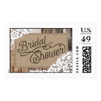 Country Western Wood Lace Rustic Bridal Shower Postage
