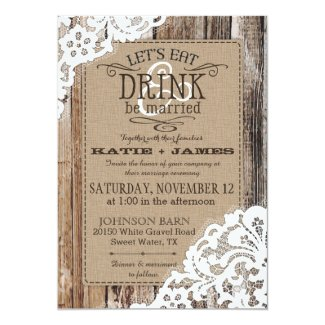 Country Western Wood Lace Rustic Wedding Card Quick View Barn Invitations
