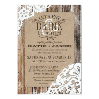 Country Western Wood Lace Rustic Wedding Card